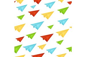 Paper Aircraft Pattern Background.