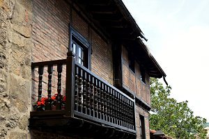 Artistic balconies in the old villag