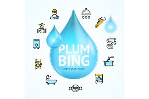 Plumbing Concept with Water Droplet