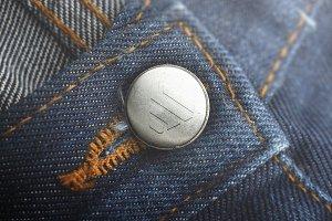 Logo Mockup Button Jeans - PSD