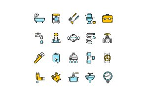 Plumbing Thin Line Icon Set.