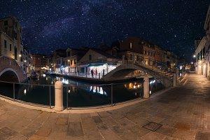 Venice old street and bridge