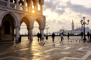 Tourists walking at Piazza San Marco