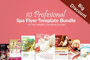 10 Spa Ad Flyers Template Bundle