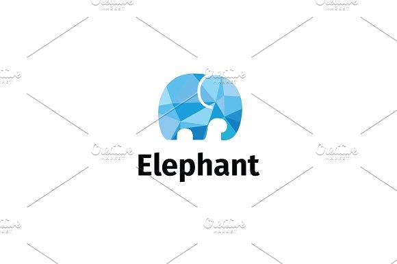 Frosty Elephant. Low-poly logo. - Logos