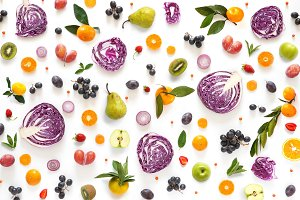 Pattern from vegetables and fruits