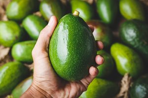 Fresh green avocados