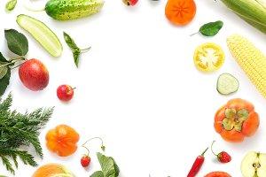 Frame of various vegetables, fruits
