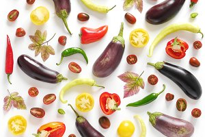 Food collage of fresh vegetables