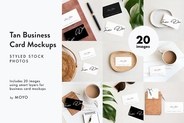 Tan Business Card Photo Mockups