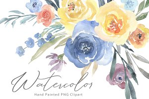 Watercolor Blue Yellow Flowers PNG