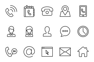 Contacts icons set