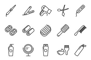 Hair care and tools icons set