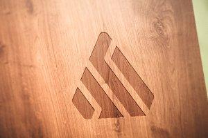 Logo Mockup Wood 2 - PSD