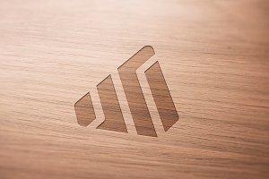 Logo Mockup Wood - PSD