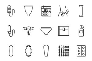 Menstruation cycle icons set