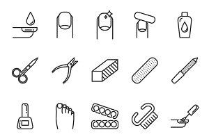 Nail service icons set