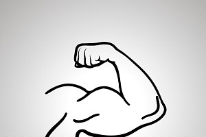 Outline icon of bodybuilder arm