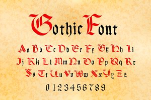 Bright red and black gothic letters