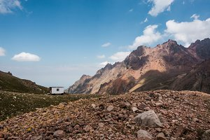 Little caravan high in the mountains