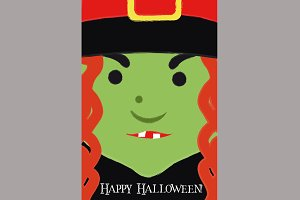Cute Witch Cartoon Poster