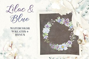 Watercolor wreaths in lilac and blue