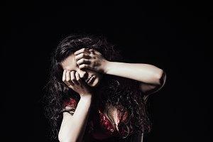 Horror shot: strange crying girl