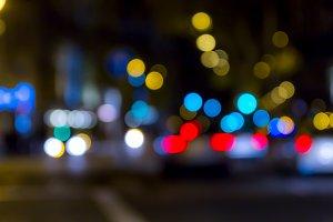 Unfocused traffic lighs in big city