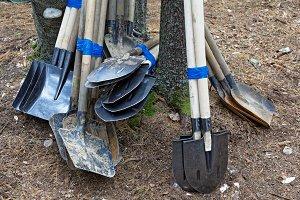 Various shovels linked together