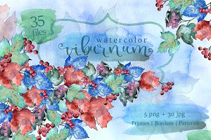 Watercolor viburnum PNG leaves set