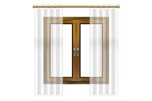 3d Wooden Window Frame. Vector