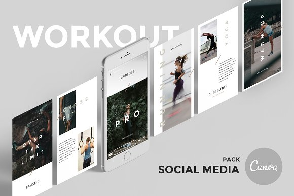 Workout Canva Social Media Pack in Instagram Templates - product preview 7