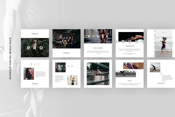 Workout Canva Social Media Pack in Instagram Templates - product preview 9