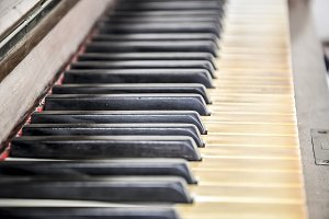 Close up of a piano keyboard
