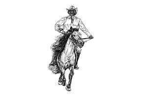 Cowboy riding horse,Vector