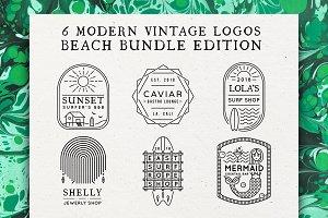 6 Modern Vintage Logos Beach Bundle
