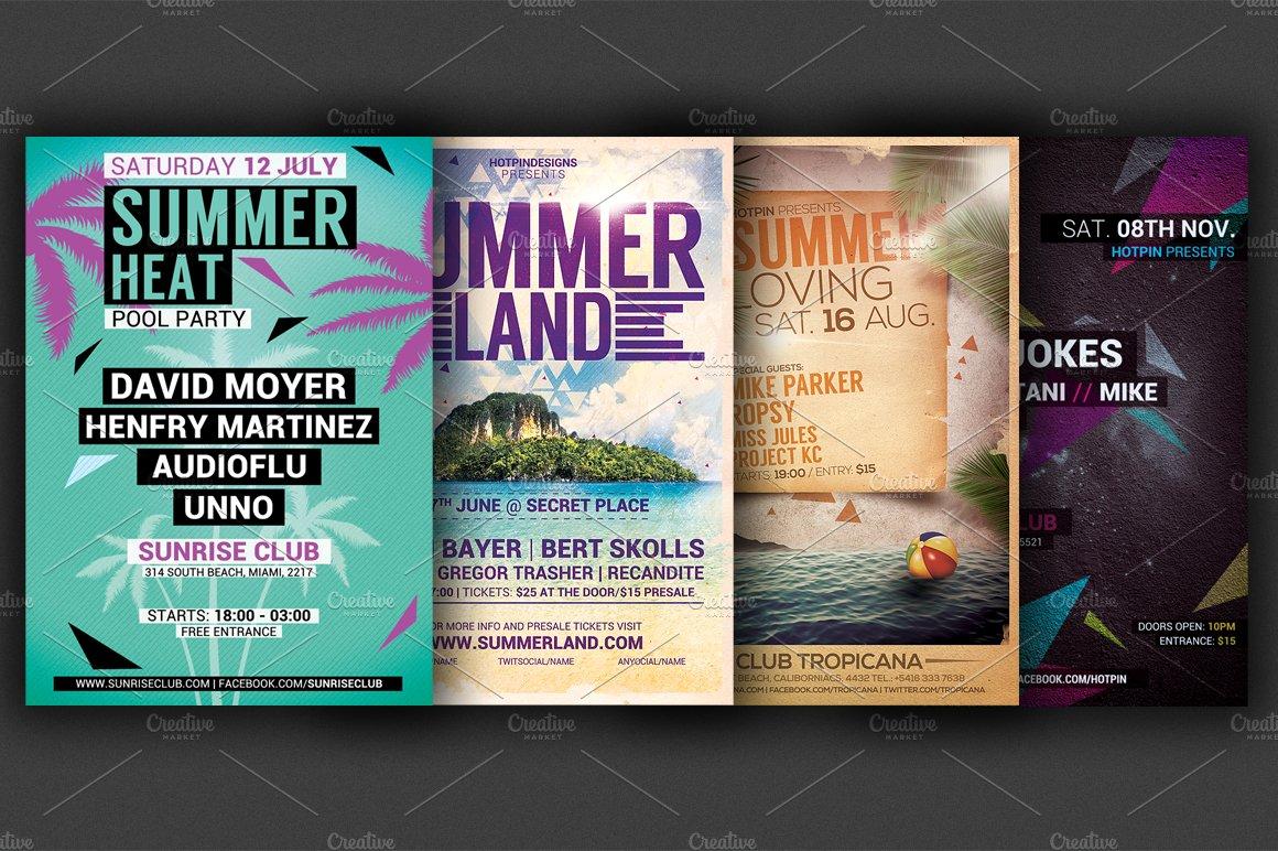 the summer party flyer bundle flyer templates creative market
