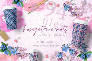 Forget-me-nots flowers PNG set