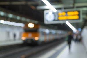Defocused, subway platform
