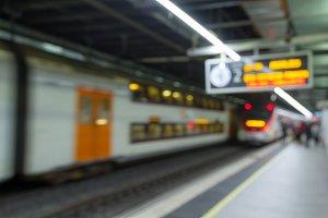 Passenger in subway unfocused people