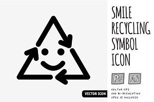 Smile recycling symbol icon
