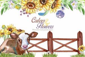 Calves & flowers watercolor clip art