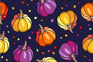 Autumn seamless pattern. Pumpkins