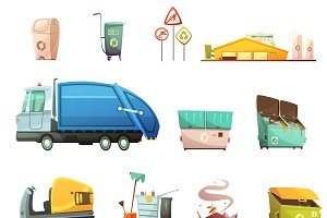 Garbage sorting and recycling icons