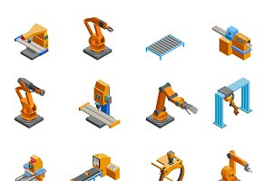 Robotic arms isometric icons