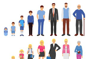 People aging process flat icons