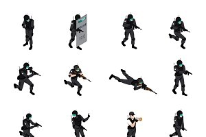 Special weapons unit isometric icons
