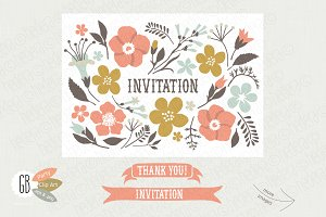 Folk flower invitation kit cream
