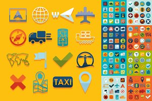 9 mini sets of navigation flat icons