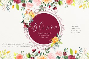 Watercolor Floral Set - Blossom